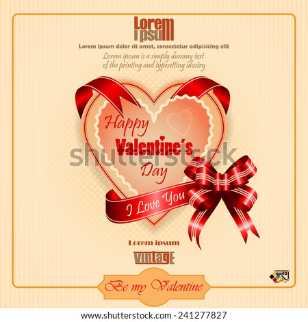 "Vintage Happy Valentine's Day background with ""Happy Valentine's Day"" and ""I love you"" text on ribbon   - stock vector"