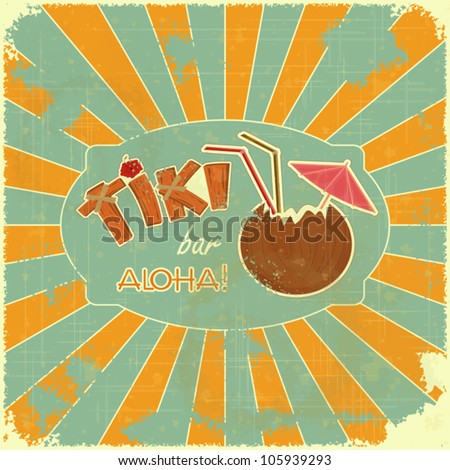 Vintage Hawaiian postcard - Retro Design Tiki Bar Menu with hand drawn text Aloha and Tiki - vector illustration - stock vector
