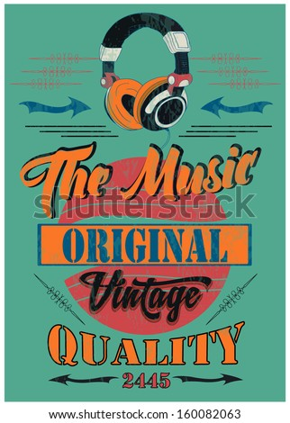 vintage headphone and t shirt graphic with sketch - stock vector