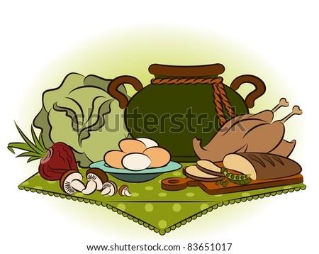 Vintage healthy meal ingredients. Vector - stock vector