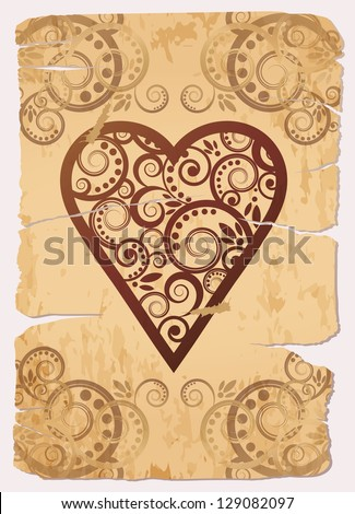 Vintage Heart ace poker playing cards, vector illustration - stock vector