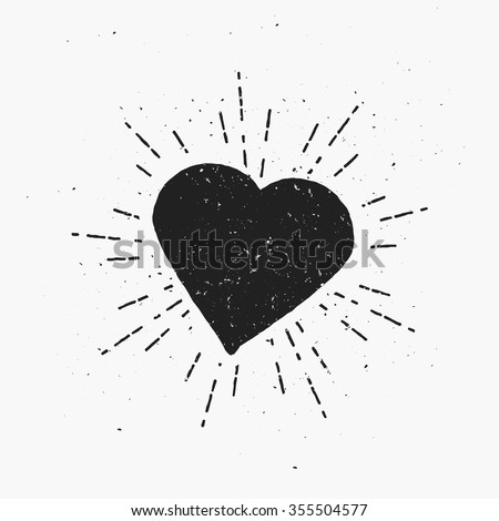 Vintage Heart Illustration. Hipster theme, template for print, cover, banner, your text or any art works. - stock vector
