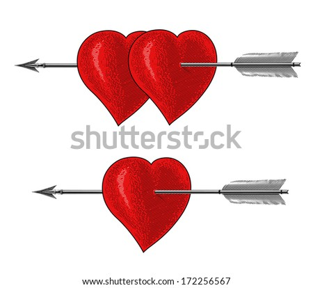 Vintage Heart with Arrow in engraving style. (Love symbol) - stock vector