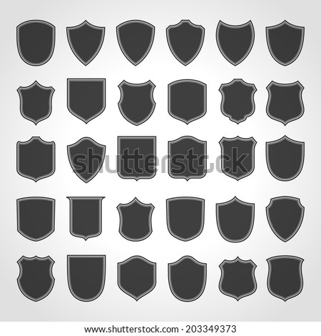 Vintage heraldic shield shapes labels design. Retro style borders, frames, labels set.  - stock vector
