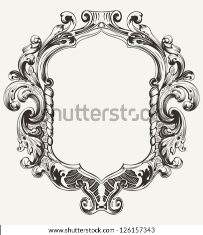 Vintage High Ornate Original Royal Frame - stock vector