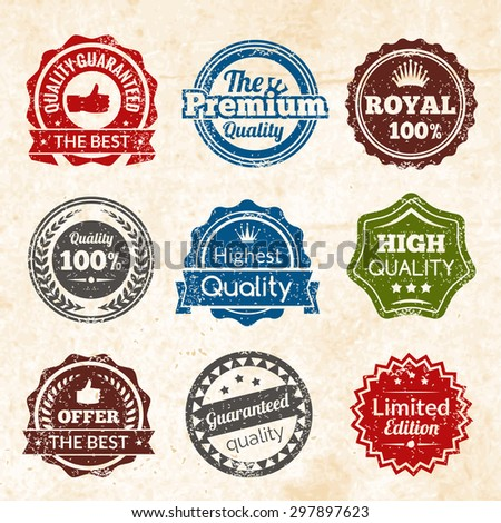 Vintage highest guaranteed quality best offer and limited edition round color stamps isolated vector illustration - stock vector