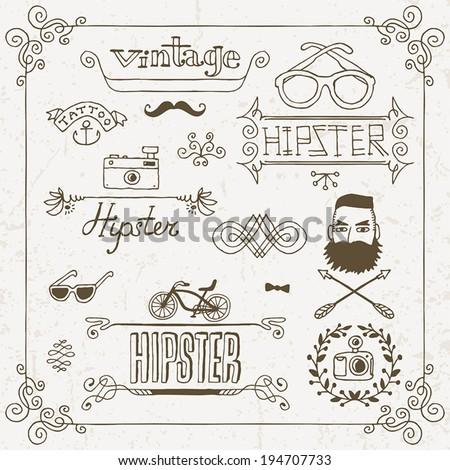 Vintage hipster hand drawn design elements set 1. Vector illustration. - stock vector