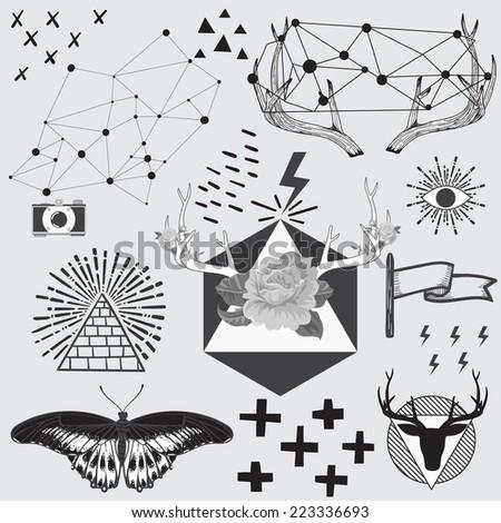 Vintage hipster hand drawn design elements set. Vector illustration. - stock vector