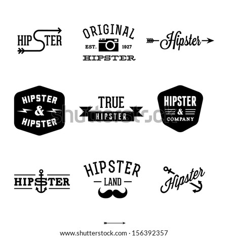 vintage hipster labels with anchor, arrow - stock vector