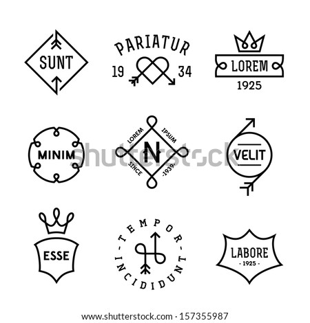 vintage hipster labels with heart, arrow, crown - stock vector