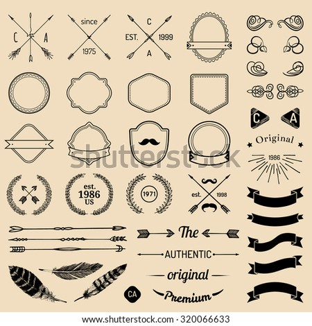 Vintage hipster logo elements with arrows, ribbons, feathers, laurels, badges. Design your own vintage label. Retro logotype templates. Badge constructor. Prime icon creator. - stock vector