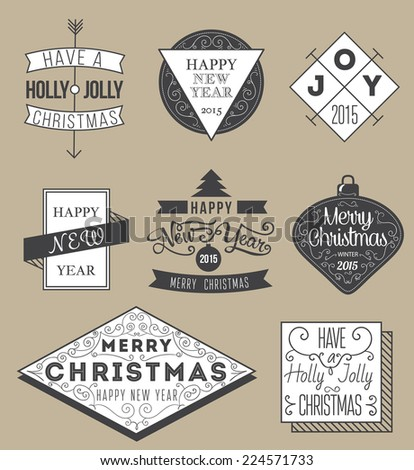 Vintage Hipster  Merry Christmas And Happy New Year Calligraphic And Typographic Labels set.  - stock vector