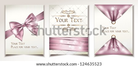 Vintage holiday cards with pink silk ribbons - stock vector