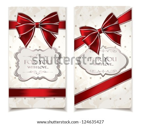 Vintage holiday cards with red ribbons - stock vector