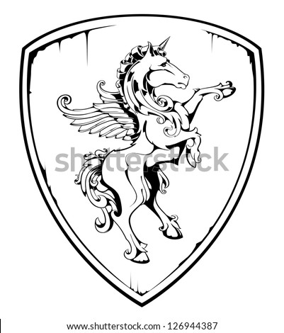 Vintage horse on shield. EPS 8 vector illustration. - stock vector