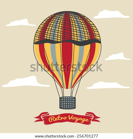 Vintage hot air balloon in the sky with clouds - stock vector