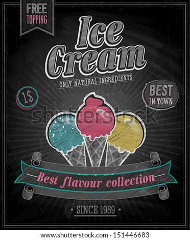 Vintage Ice Cream Poster - Chalkboard. Vector illustration. - stock vector