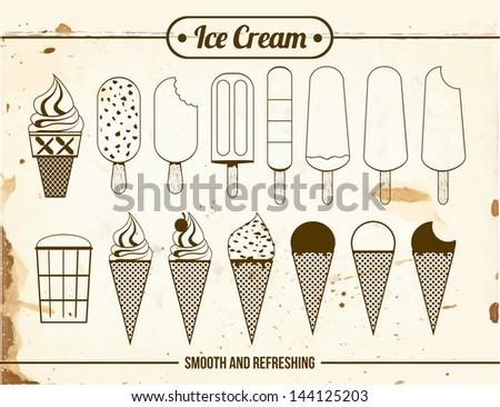 Vintage Icons of ice cream - stock vector