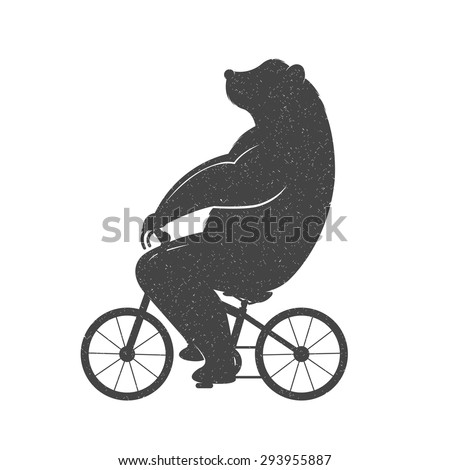 Vintage Illustration bear on a bike with Grunge effect. Funny bear ride a bicycle on a white background for posters and T-shirts. - stock vector