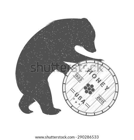 Vintage Illustration bear with barrel of honey - Grunge effect. Animal isolated on white background for logo and club - stock vector