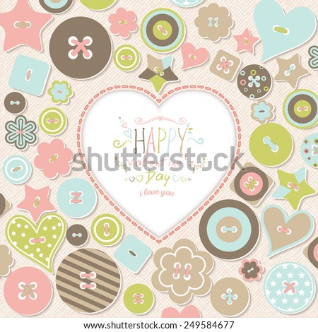 Vintage illustration Happy Valentine's Day. Heart with the inscription on the background of colored buttons. Vector template of invitation, flyer, poster or greeting card. - stock vector