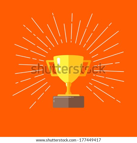 vintage illustration of a champions cup in flat style  - stock vector
