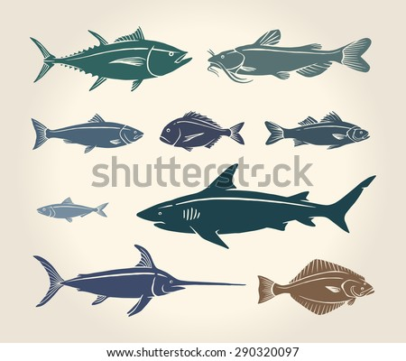 Vintage illustration of fish and seafood over white background - stock vector
