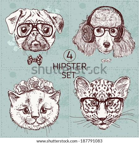 Vintage illustration of hipster animal set with glasses in vector. Set: pug, poodle, cat, leopard - stock vector