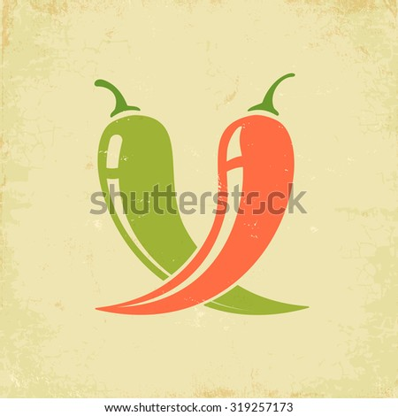 Vintage illustration of two chili peppers - stock vector