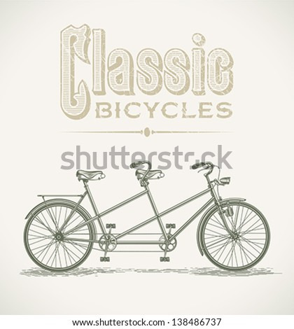 Vintage illustration with a classic tandem bicycle. Editable layered vector. - stock vector
