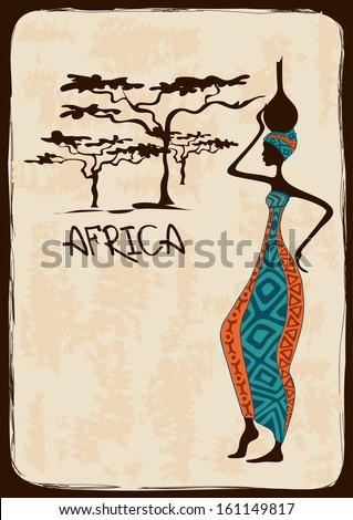 Vintage illustration with beautiful slim African woman in colorful ethnic patterned dress - stock vector