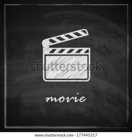 vintage illustration with film clapboard sign on blackboard background - stock vector