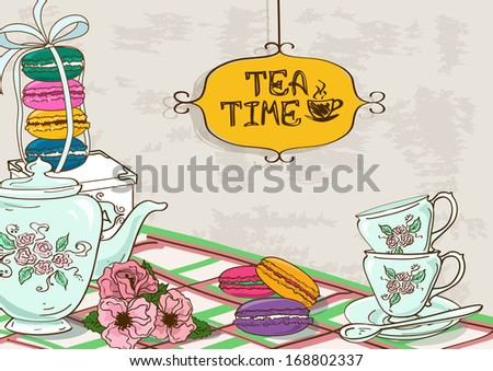 Vintage illustration with still life of tea set and French macaroons - stock vector