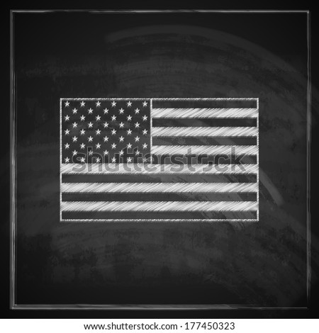 vintage illustration with United States flag on blackboard background - stock vector
