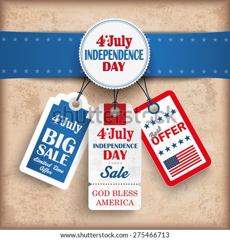Vintage independence day background 3 price stickers. Eps 10 vector file. - stock vector