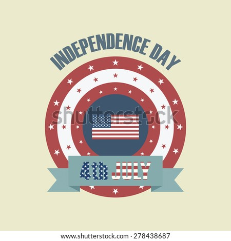 vintage independence day icon,flat retro style - stock vector
