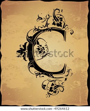 Vintage initials letter c - stock vector