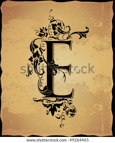 Vintage initials letter e - stock vector