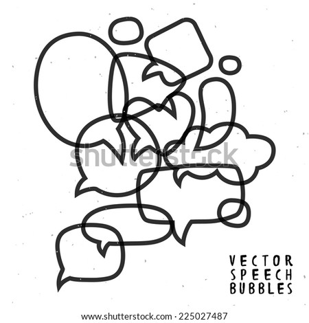 Vintage ink speech bubble composition. Different sizes and forms. Hand drawn vector illustration. - stock vector