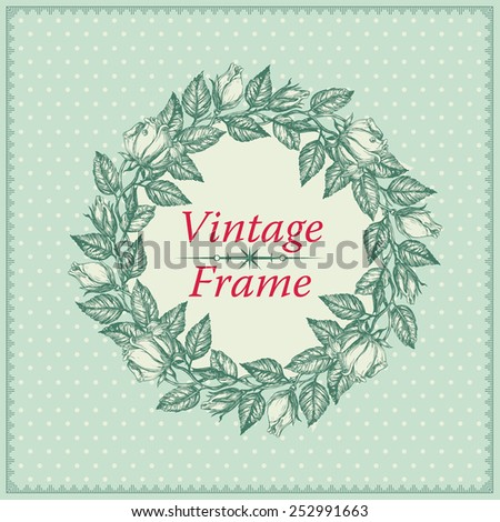 Vintage invitation card. Vector invitation or wedding card with rose border at engraving style.  - stock vector