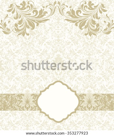 Vintage invitation card with ornate elegant abstract floral design, yellow green flowers on pale green background with ribbon. Vector illustration. - stock vector