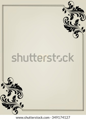 Vintage invitation card with ornate elegant retro abstract floral design. Vector illustration. - stock vector