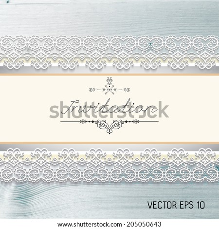 Vintage invitation on a realistic wood texture , vector - stock vector