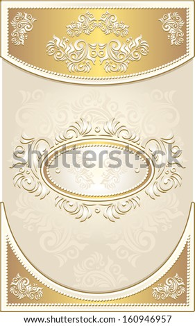 Vintage Invitation or Wedding frame or Congratulation or label with Floral background in light gold color - stock vector