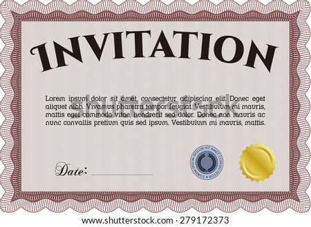 Vintage invitation template. Detailed.Lovely design. With guilloche pattern.  - stock vector