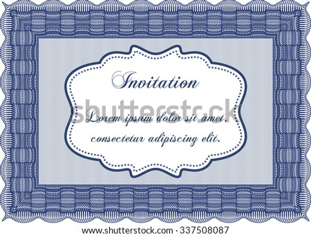 Vintage invitation template. With complex linear background. Nice design. Vector illustration. - stock vector