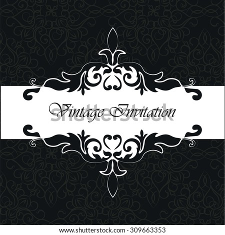 Vintage Invitation with floral ornaments in black and white. Vector - stock vector