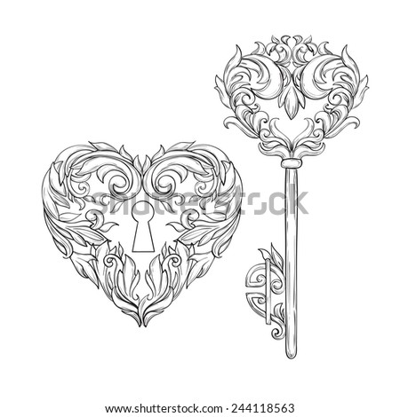 Vintage key and lock contours in beautiful curls stock vector