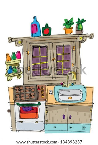 stock images similar to id 134393222 vintage kitchen cartoon