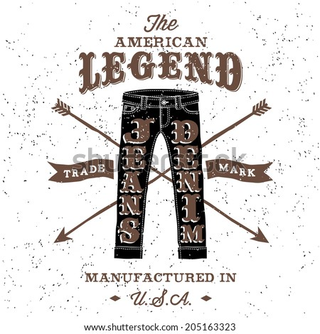 vintage label american legend (T-Shirt Print) - stock vector